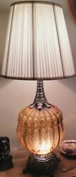 Ef And Ef Industries Inc. Tm 1972 Amber Large Vintage Table Lamp No. 145-4-5x