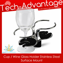 Luxe Boat Caravan Yacht Cup/wine Glass Holder Stainless Steel Surface Mounted