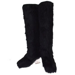 Auth Cc Logo Long Heels Boots Shoes Fur Leather Black 37 Italy 84mi539