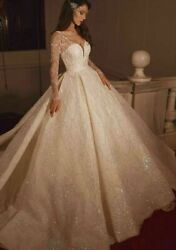 Bride Dresses Ball Gowns V Neck Transparent Crystals Beaded Sequins Long Sleeves