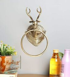 Antique Handcrafted Royal Stag Design Brass Metal Towel Ring Hanger Home Décor