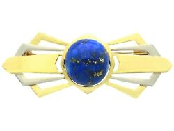 Antique 1930s 14.95ct Lapis Lazuli And 18k Yellow Gold Bow Brooch