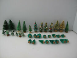 Vintage Bottle Brush Christmas Trees And Bushes Train Sets Scenes Lot Of 34- 1960s