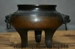 10 Marked Old Chinese Red Copper Dynasty Beast Lion Ear Incense Burners Censer