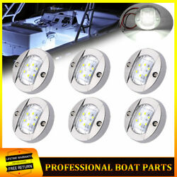 6x White 3 Round Marine Boat Cabin Deck Lights Led Walkway Stair Courtesy Light