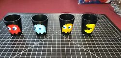 Lot Of 4 Shot Glasses Black Glass Pac Man Characters Blinky Inky Pinky And Clyde