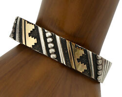 Navajo Bracelet .925 Solid Silver And Gold Plated Signed Artist Thomas Singer 2007