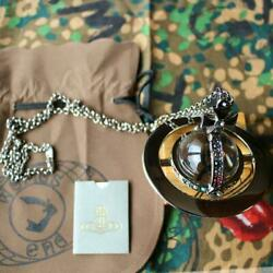 Vivienne Westwood Crystal Drop Giant Orb Limited To London Word Necklace Pendant