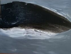 Whale Watching Original Modern Art Abstract Black And White Acrylic Painting