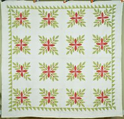 Well Quilted Vintage 1850's Red And Green Laurel Leaves Applique Antique Quilt