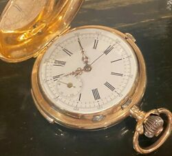 14k Solid Gold ¼ Hour Repeater Chronograph Hunter Case Pocket Watch 96.7g53mm