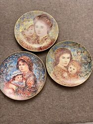 """3 Edna Hibel Plates - """"molly And Annie"""", """"olivia And Hildy"""", """"jacqueline And Renee"""""""