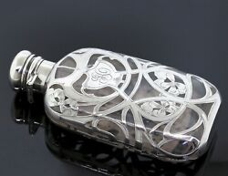 Antique J.e. Caldwell And Co. Glass And 999 Fine Silver Overlay Flask