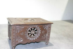 Art Deco French Quimper Breton Doll Fourniture Carved Wooden Wood Chest Box