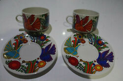 Nice Pair 2 Villeroy And Boch Acapulco Oversized Cup And Saucer Coffee Cup Tea Cup