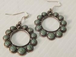 Antique / Vintage Mexican Sterling Silver Turquoise Earrings