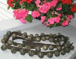 Antique Leather Strap Of 41 Sleigh Bells, Great Sound