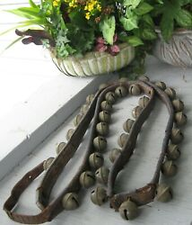 Antique Leather Strap Of 35 Brass Sleigh Bells