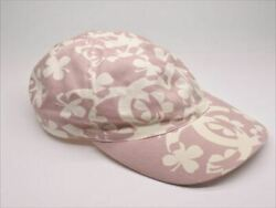 Baseball Cap Clover Pink And White Canvas Cotton Size M Used 729/me