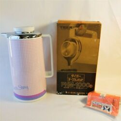 Tiger Table Pot Phm-1000 Cute Pink Plaid Thermos 1 Liter Box With Instructions
