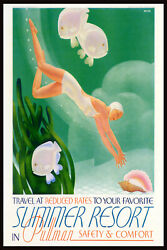 Summer Resort In Pullman Girl Diving Train Travel Vintage Poster Repro Free S/h