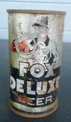 Vintage Fox Deluxe Lager Beer Can Flat Top Instruction Keglined Gold Medal Irtp