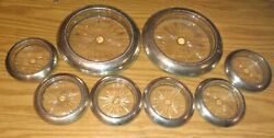 Lot Of Marked Whiting Sterling Silver And Glass Wine Bottle And Glass Coasters