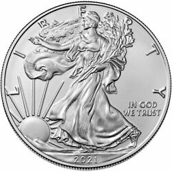 Set Of 2021 1 Ounce Silver American Eagles Both Type 1 And 2 Bullion Coins