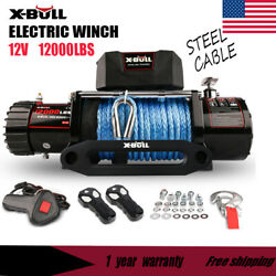 12v 12000lbs Electric Winch Synthetic Blue Rope Off Road Jeep Truck 4wd X-bull