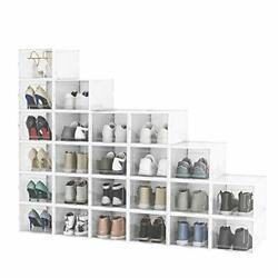 Pack Shoe Storage Boxes Clear Plastic Stackable Shoe Organizer Bins Large 24