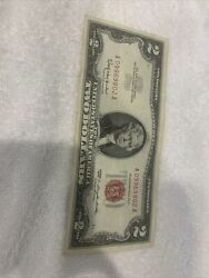 1963 A Two Dollar Note Red Seal 2 Bill Us Currency Old Money Random