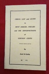 Mint Errors Freaks And Die Imperfections Of Lincoln Cents Book Emil Dibella