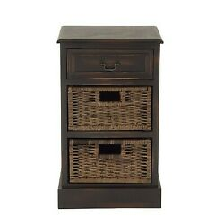 Farmhouse Wooden Side Chest With Basket Drawers Maroon - Olivia May