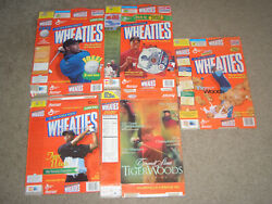 Lot 5 - Tiger Woods Golf - 5 Different Vintage Collectible Wheaties Cereal Boxes