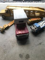 Lot Of Vintage Tonka Trucks 1960 And 1970 Car Carriers Wrecker Camper Collectible