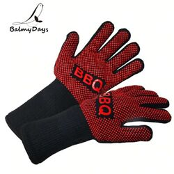 Bbq Gloves Heat Resistant Grill Glove Oven Mitts Silicone Insulated For Cooking