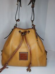 Dooney amp; Bourke Bucket Bag Drawstring Brown Pebbled Leather 1975 AUTHENTIC $60.00