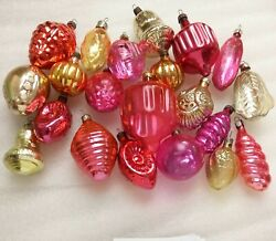 Set Of 21 Vintage Ussr Glass Russian Christmas Ornaments Xmas Tree Decorations