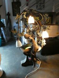 Unusual Large Art Nouveau Style Maiden Sitting On A Wishing Well Lamp