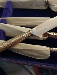 Harrison Brothers Kings Set Of 6 Tea Knives With Fitted Case Sterling Silver