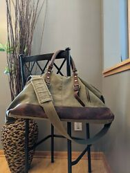 Leather Canvas Military Duffle/ Weekender Bag Crazy Horse Leather