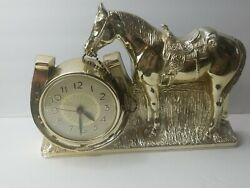 Vtg Mastercrafters Horse And Shoe Clock Mcm Electric Bronze Color Plastic. Works.