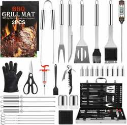 Set Bbq Grilling Tools 34 Pcs In Aluminum Case, Stainless Steel Barbecue