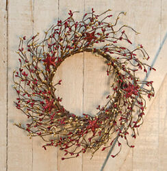 Burgundy And Gold Pip Berries And Holiday Stars 14 Wreath