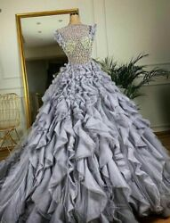 Cloud Tiered Dresses Puffy Gowns Crystal Couture O Neck A Line Cap Sleeve Zipper