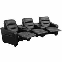 Futura Series 3-seat Black Leather Theater Seating Unit With Cup Holders