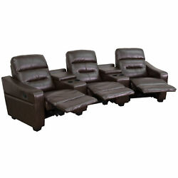 Futura Series 3-seat Brown Leather Theater Seating Unit With Cup Holders