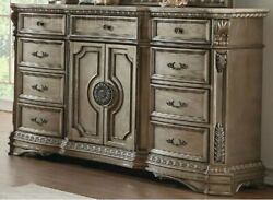 Acme Northville Dresser With Wooden Top In Antique Champagne Finish 26938