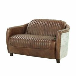 Acme Brancaster Loveseat In Retro Brown Tg Leather And Aluminum Finish 53546