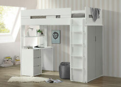 Acme Nerice Loft Bed In White And Gray Finish 38050